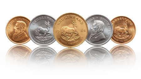 Photo pour South African Krugerrand ounce silver and gold bullion coins - image libre de droit
