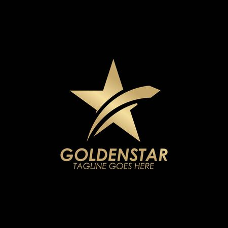 Illustration for Golden stars icon logo design vector template with black background - Royalty Free Image