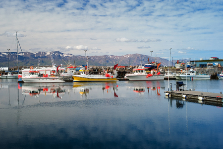 Husavik, Iceland - July, 2008: Harbor. Husavik is a town in Nordurping municipality on the north coast of Iceland on the shores of Skjalfandi bay.