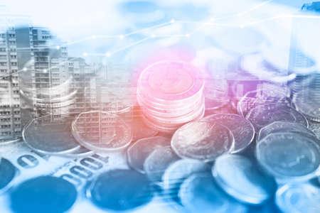 Foto de double exposure  business and finance background ,coins, saving account  and calculator - Imagen libre de derechos