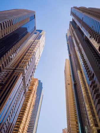 Photo pour High-rise skyscrapers with blue sky of Dubai city. UAE. - image libre de droit