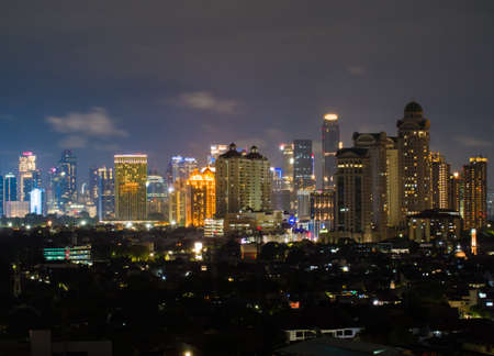 Photo for Night panorama of the capital of Indonesia - Jakarta. - Royalty Free Image