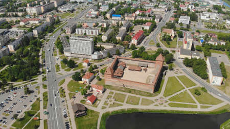 Photo for Aerial panorama of the historic city of Lida with a castle. Belarus - Royalty Free Image