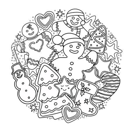 Illustration pour Gingerbread coloring book. Christmas and new year. Vector. - image libre de droit