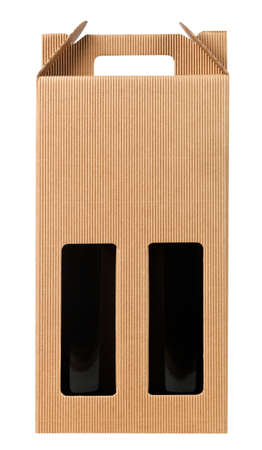 Wine gift box with two bottle on white.