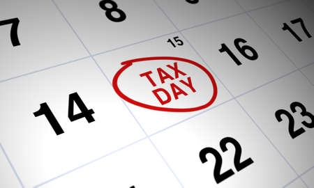 Photo pour Tax day circled in red on white calendar - image libre de droit