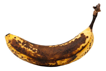 Over ripe banana isolated on white