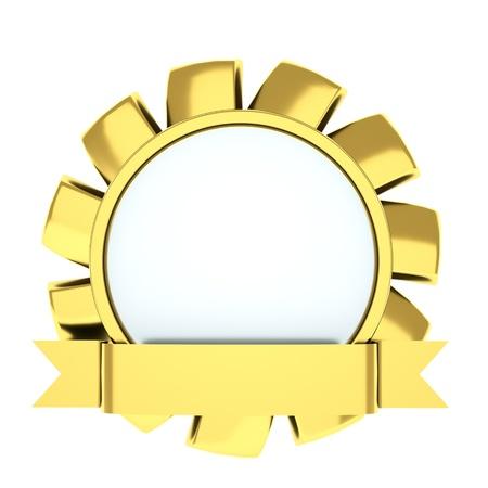 medal in the shape of a flower, award ribbon