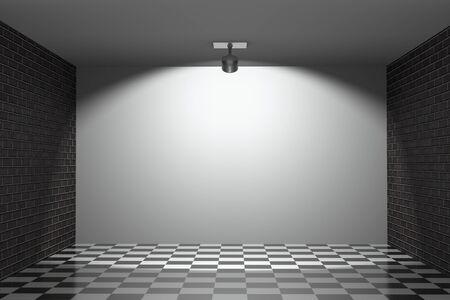 a blank white wall between  bricks walls