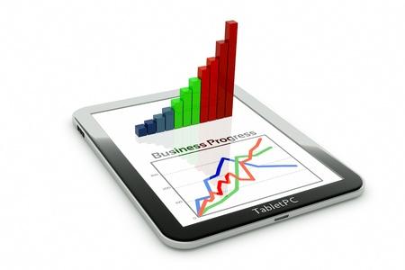 Photo pour a tablet pc and business diagram as a concept of process of business development - image libre de droit