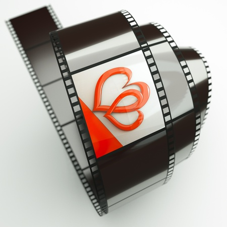 a film reel with hearts background on it