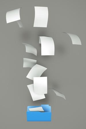 a documents falling in a empty open folder
