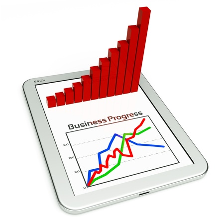 a tablet pc and business diagram as a concept of process of business development