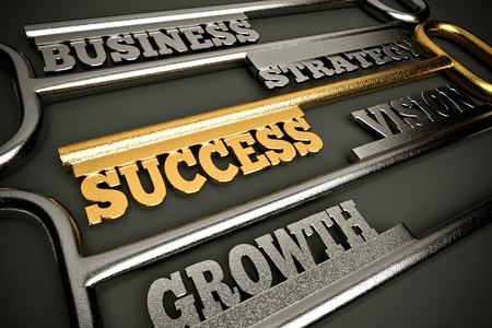a golden keys with words as a background, business success concept