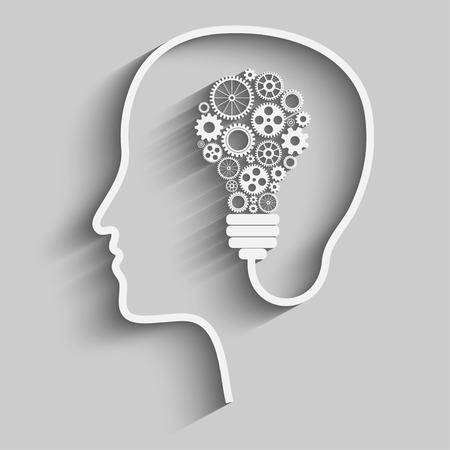 Illustration for Human head creating a new idea. Creative Idea. vector. - Royalty Free Image