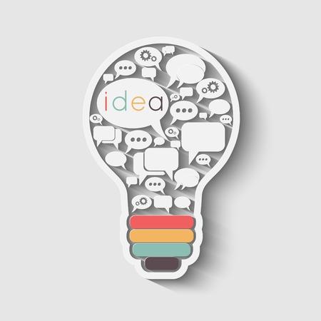 bulb with bubble speech, an idea concept, vector illustration