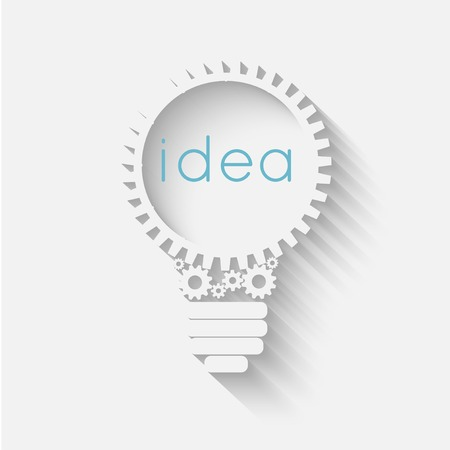 Illustration pour light bulb with gears and cogs working together, idea concept - image libre de droit