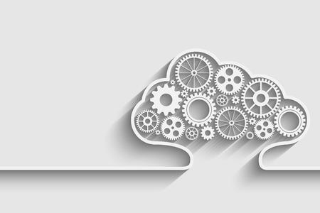 Illustration pour Creative cloud background with gears. Eps10 vector for your design - image libre de droit