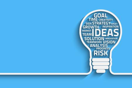 Illustration pour Business concept bulb made with words. Vector Eps10 for your design - image libre de droit