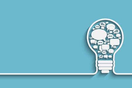 bulb with bubble speech, an idea concept, vector illustration for your design