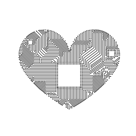 Circuit board heart vector illustration