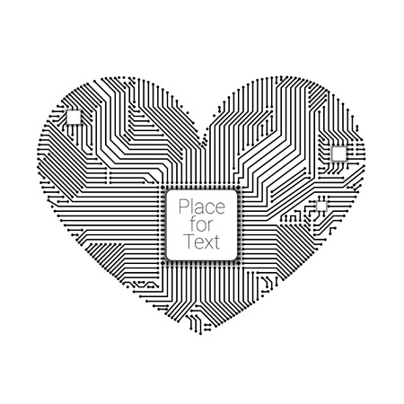 Circuit board heart with processor inside for your design