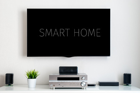 Smart home. Home multimedia center. with text on display.
