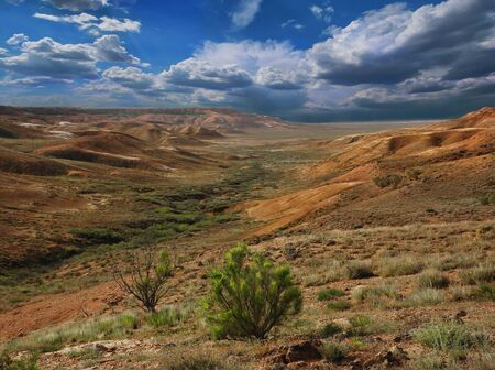 Beautiful mountains landscape of the slopes canyon in Ustyurt. North eastern part of the plateau in Kazakhstan