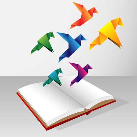 Illustration pour Colorfull origami birds coming out of book - image libre de droit