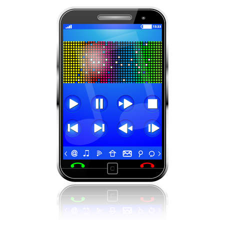 Illustration pour Cell Smart Mobile Phone with music player on white - image libre de droit