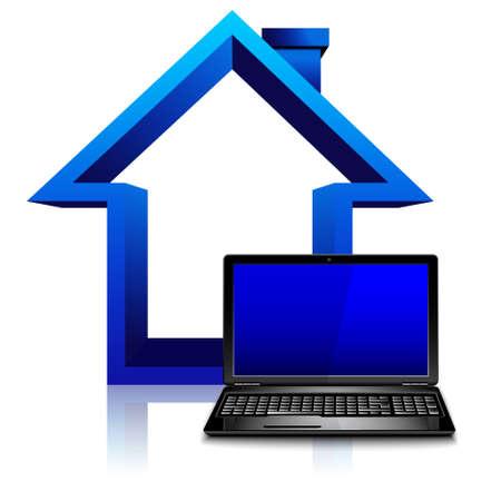 Ilustración de Work at home concept, freelancer, house with laptop computer - Imagen libre de derechos