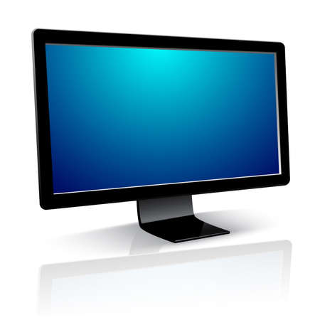 Illustration pour Computer Monitor with blank screen on white background - image libre de droit