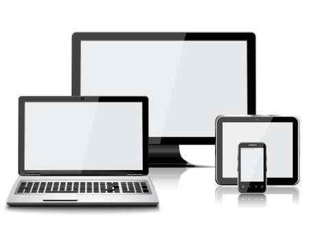 Illustration pour Set of realistic display, laptop, tablet computer and mobile phone isolated - image libre de droit