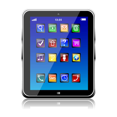 Illustration pour Tablet PC with blue touchscreen and colorful apps isolated - image libre de droit