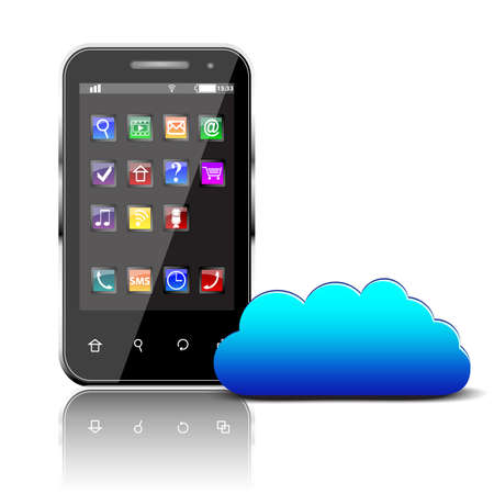 Illustration pour Smartphone with colorful apps and cloud computing symbol isolated - image libre de droit