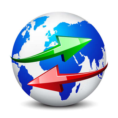 Illustration pour Globe and red and green arrows on white background isolatede - image libre de droit