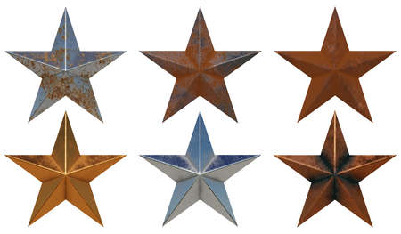 Photo for Six different realistic metal stars isolated on white background 3D rendering - Royalty Free Image