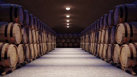 Photo pour Wine cellar with large wooden barrels, 3d rendering - image libre de droit