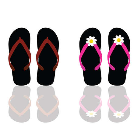 flip flop for beach for man and woman art vector illustration