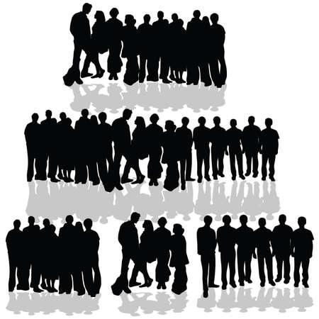 people group black silhouette on white background