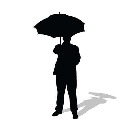 man with umbrella vector silhouette illustration