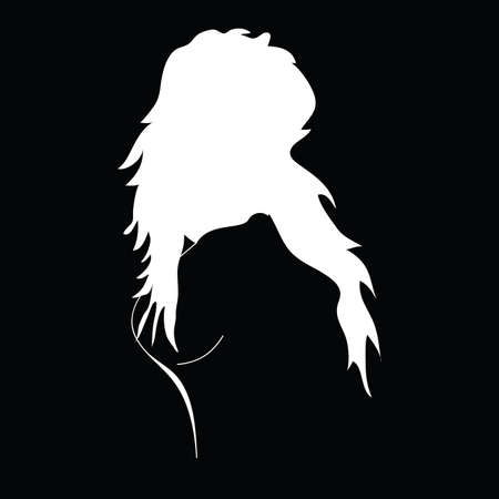 girl black and white vector silhouette