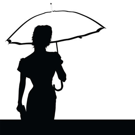 lady with umbrella vector illustration