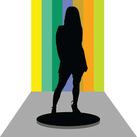 girl on stage vector in colorful