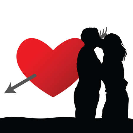couple with red heart illustration silhouette