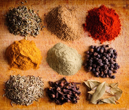 Background with different indian spices