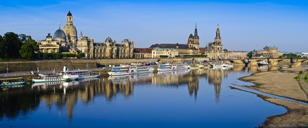 panorma with historic city center of Dresden and elbe river in Saxony, Germany