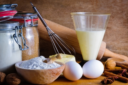 Still life with traditional baking ingredients