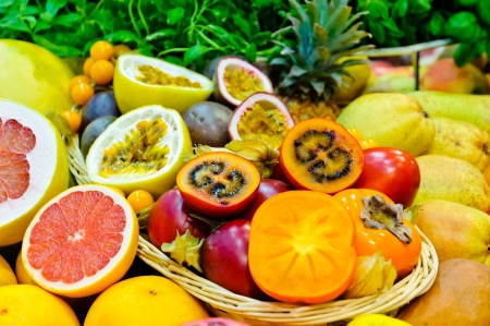 Mix of different fresh exotic fruits