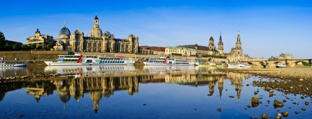 Panorama Dresden with reflection in elbe river